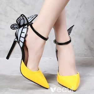 JoJo Cat High Heel Point Toe Butterfly Strap Shoes